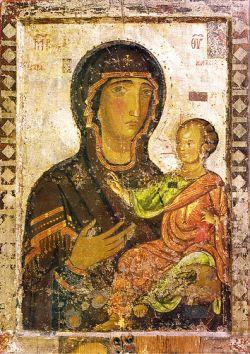 Η εικόνα της Παναγίας Οδηγήτριας που βρισκόνταν στο καθολικό του  μοναστηριού του Αγίου Σάββα της Καρόνος κοντά το χωριό Πραστειό  Κελοκεδάρων της Πάφου. Η εικόνα ζωγραφίστηκε από τον Κύπριο αγιογράφο  Τίτο το 1521. Σήμερα βρίσκεται στο Βυζαντινό Μουσείο Πάφου.